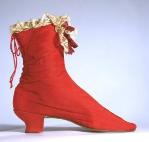 Red silk boots, 1865. Victoria and Albert Museum.